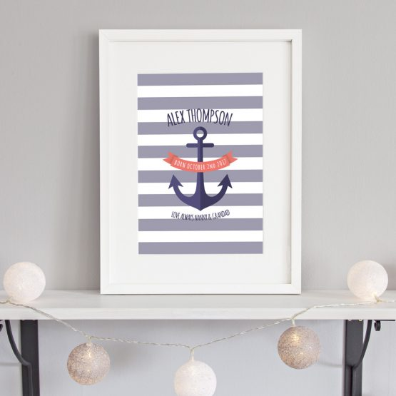 Nautical Baby Boy Personalised Nursery Print