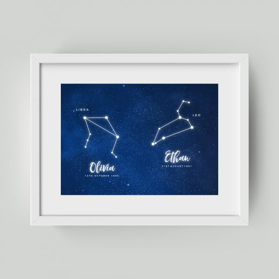 Couple's Anniversary Constellation Zodiac Framed Gift Print