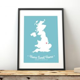 Personalised Framed Map Print UK Home Sweet Home