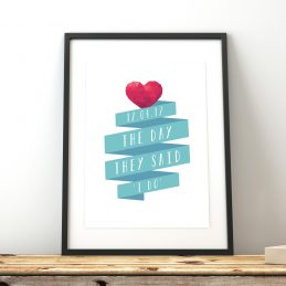 Engagement Anniversary Wedding Gift Print Framed
