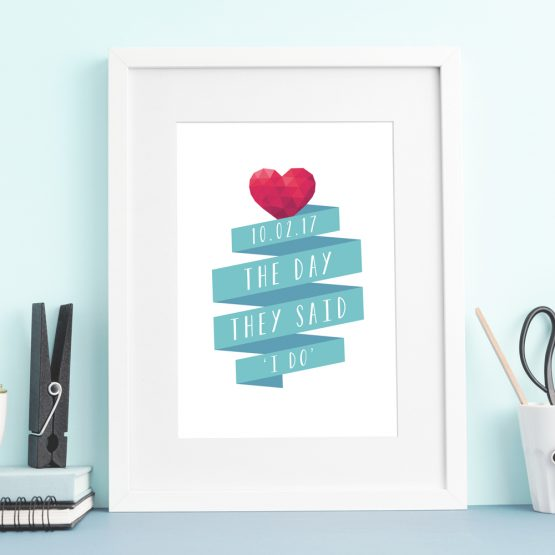 Personalised Engagement Anniversary Wedding \Gift Print Framed