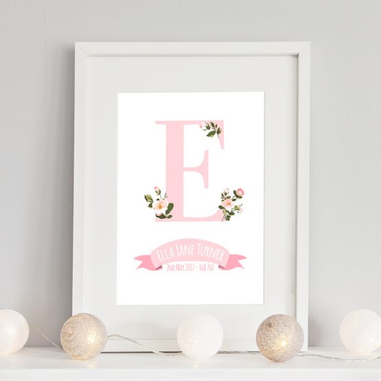 Floral Nursery Print Baby Girl Personalised Initial Framed