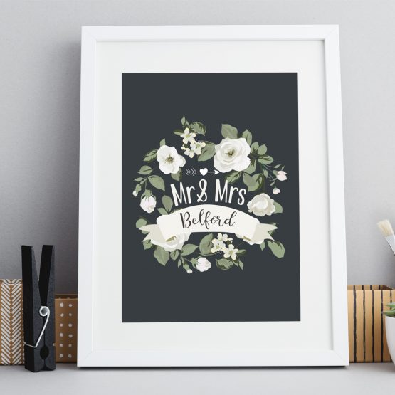 Framed Print Engagement Wedding Personalised Gift