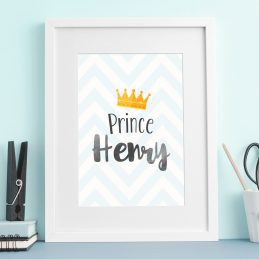 Baby Nursery Personalised Print Crown Framed Gift Boy