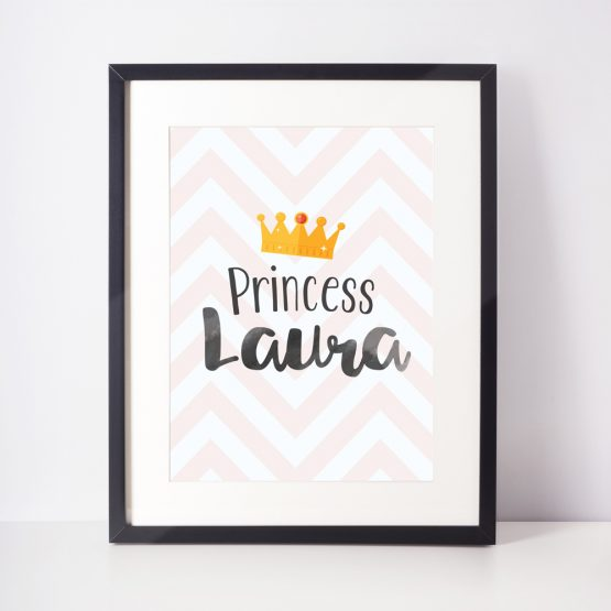 Baby Nursery Personalised Print Princess Gift