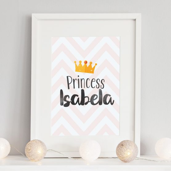Baby Nursery Personalised Gift Princess Framed Print