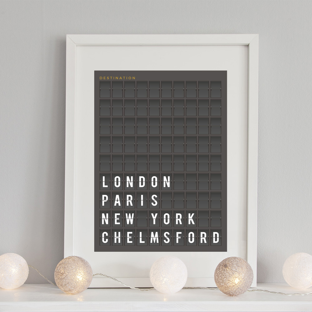 arrivals board personalised town print inksty. Black Bedroom Furniture Sets. Home Design Ideas