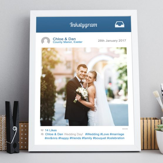 Social Media Instagram Framed Gift Personalised Prints UK
