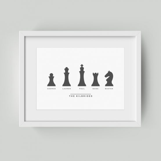 Personalised Prints UK Family Framed Gift Chess Pieces