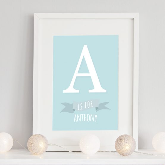 Baby Nursery Initial Prints Boy Framed Gift UK