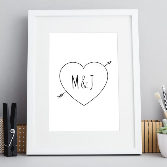Line Heart Personalised Print Framed Gift UK