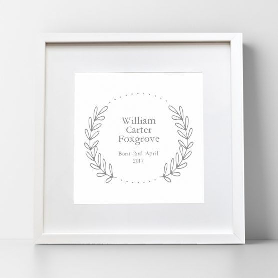 Nursery Wreath Birth Date Personalised Prints UK