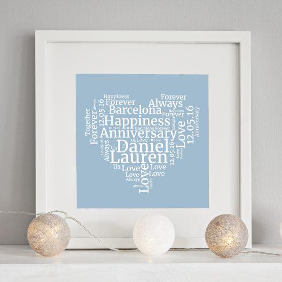 anniversary print heart word cloud