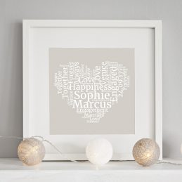 personalised wordart heart print