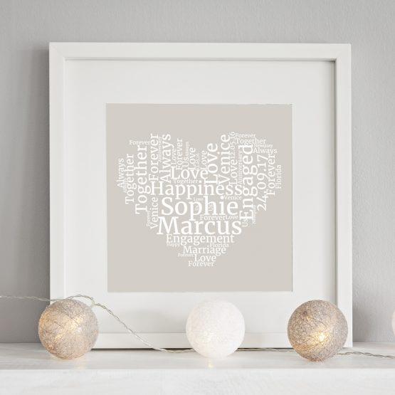 personalised wordart heart print