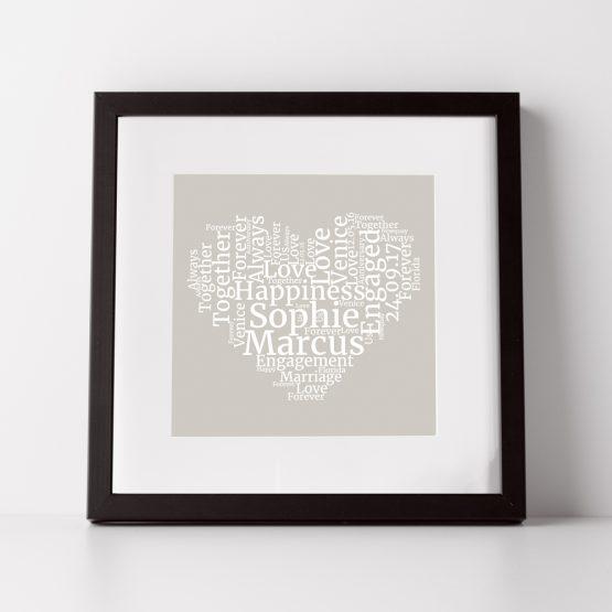 personalised word cloud heart print