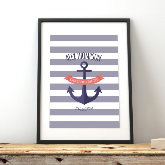 Nautical Baby Boy Personalised Bedroom Print