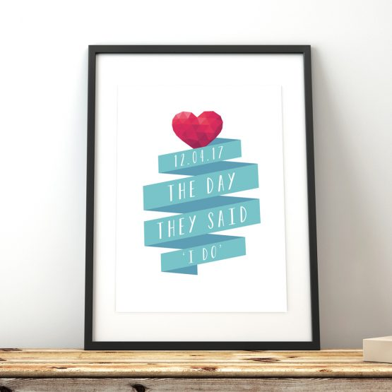 Engagement Anniversary Wedding Gift Print Framed