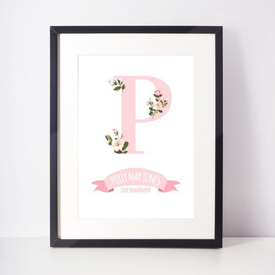 Floral Nursery Print Baby Girl Personalised Initial