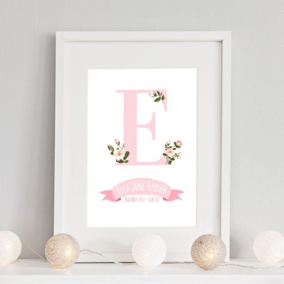 Floral Nursery Print Baby Girl Personalised Initial Framed