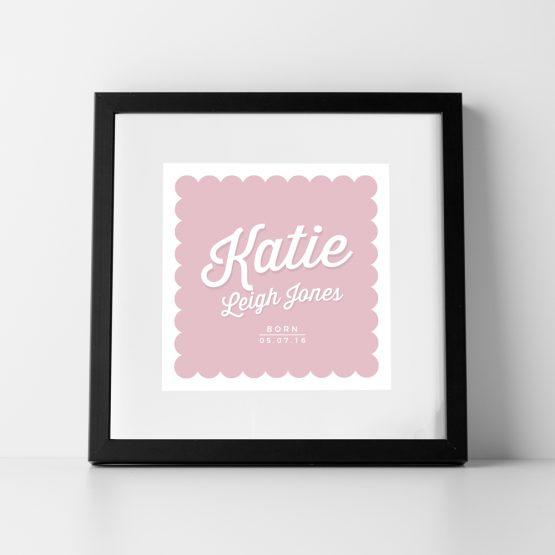 Baby Girl Nursery Personalised Name Print