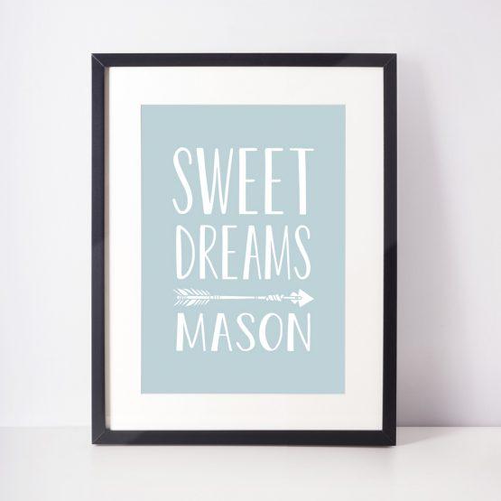 Sweet Dreams Nursery Print Baby Boy Framed Gift