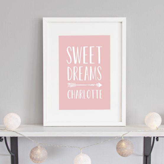Sweet Dreams Nursery Print Baby Girl Framed Gift