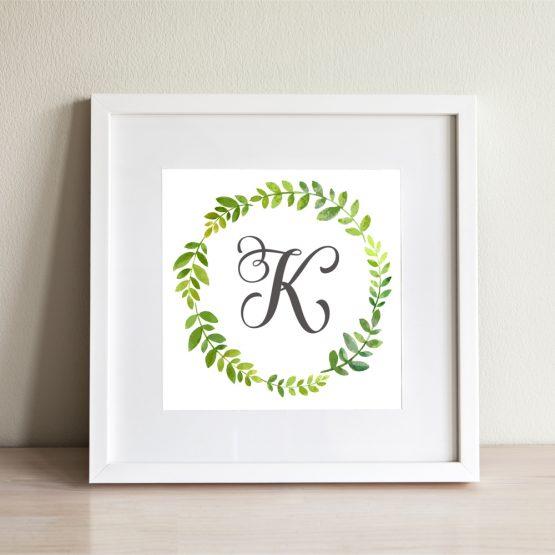 Custom Initial Framed Gift Print Monogram