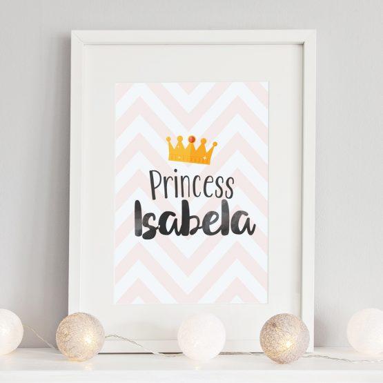 Baby Nursery Personalised Gift Princess Framed Print