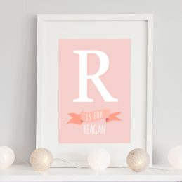 Baby Nursery Initial Prints Girl Framed Gifts UK