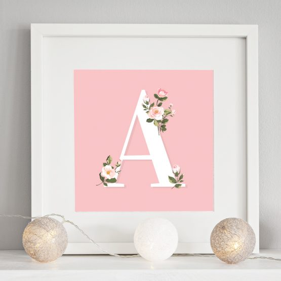 Nursery Letter Initial Floral Gift Prints