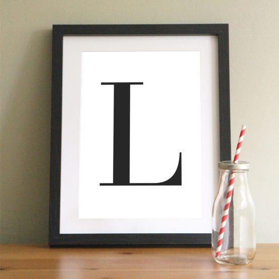 Letter Initial Print Framed Gift