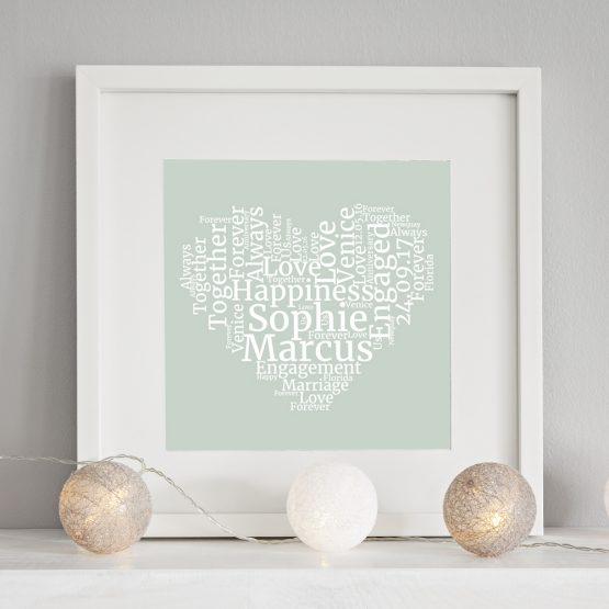 personalised print heart word cloud